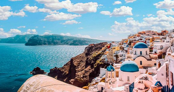panorama mare e isola greca